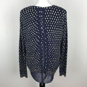 Lucky Brand Dot Print Sweater Navy Blue Shirttail
